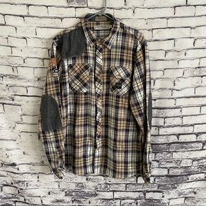 Akoo Button Down Flannel Elbow Patch